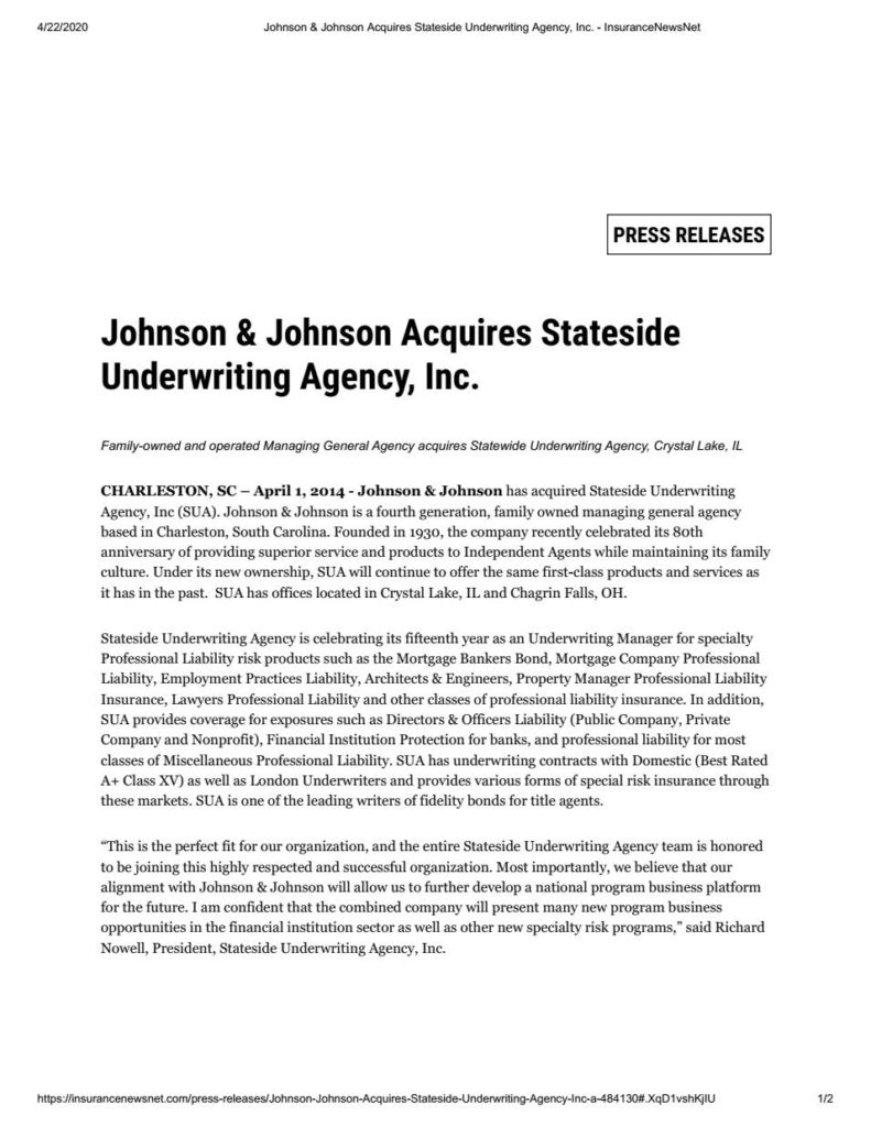 Johnson & Johnson Acquires Stateside Underwriting Agency Inc