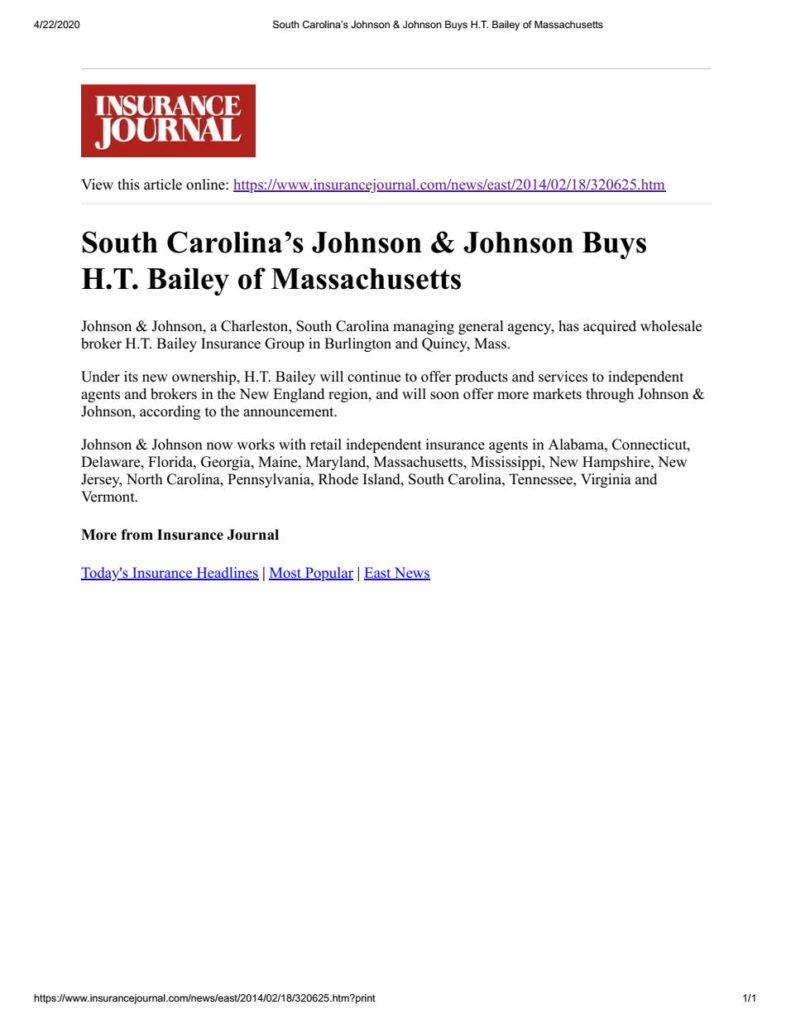 South Carolinas Johnson & Johnson Buys H.T. Bailey of Massachusetts